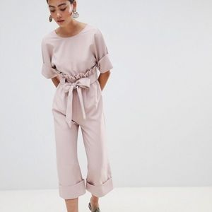 ASOS — Petite Wide Leg Jumpsuit With Tie Waist